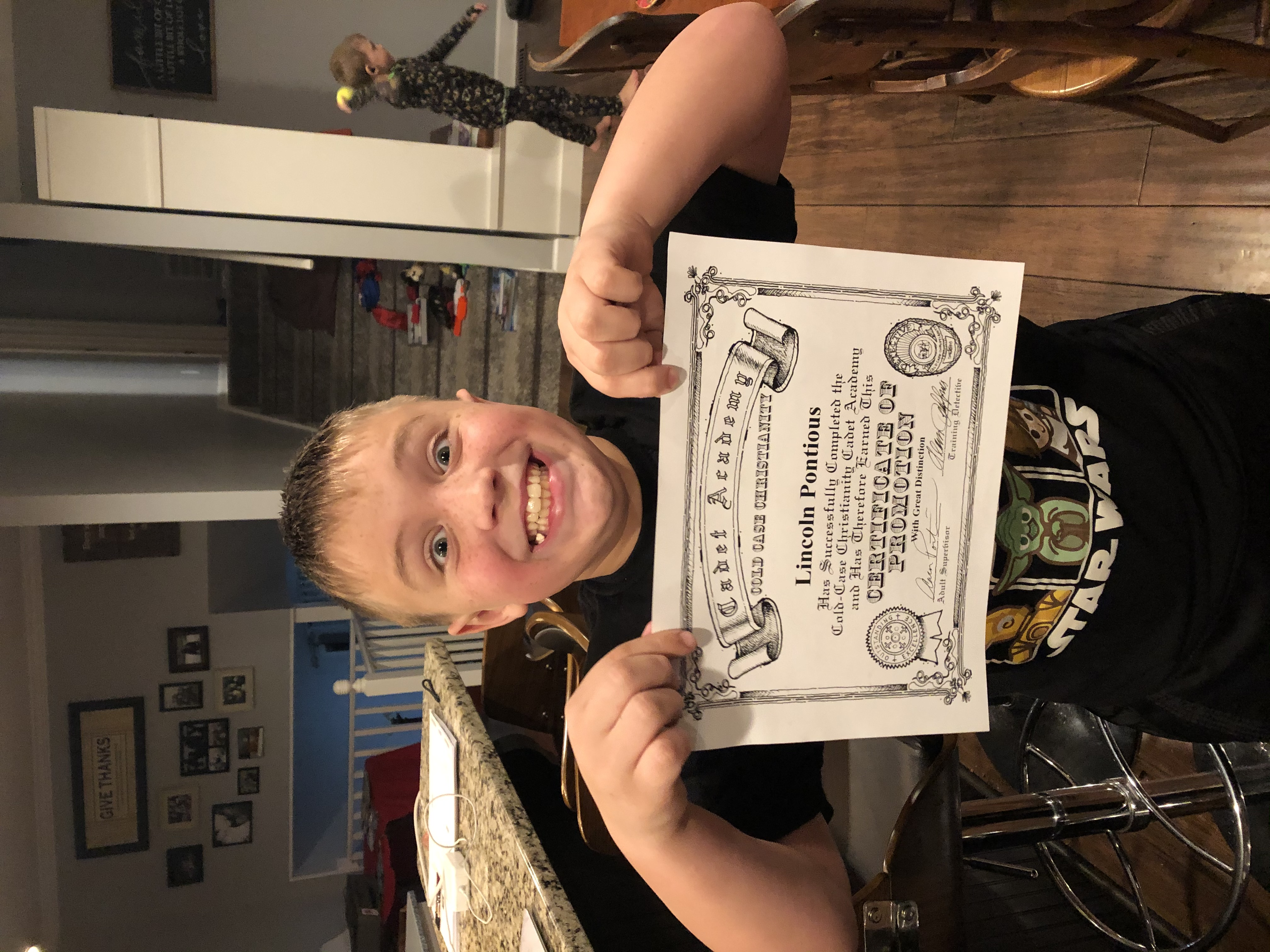 Lincoln Pontious is the latest HONOR CADET. Congratulations young man!